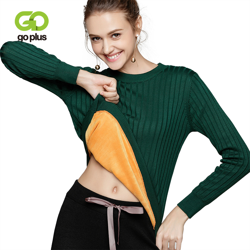 GOPLUS Fashion Velvet Knitted Sweater Women O Neck Slim Long Sleeve Jumpers 2018 Winter Thick Warm Elastic Pullovers Female Top