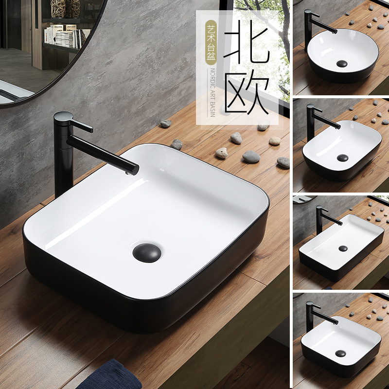 Black Bathroom Countertop Sinks with Pull Out Faucet Modern Ceramic Toilet Washbasin Square Basin Simple European Art Home Basin