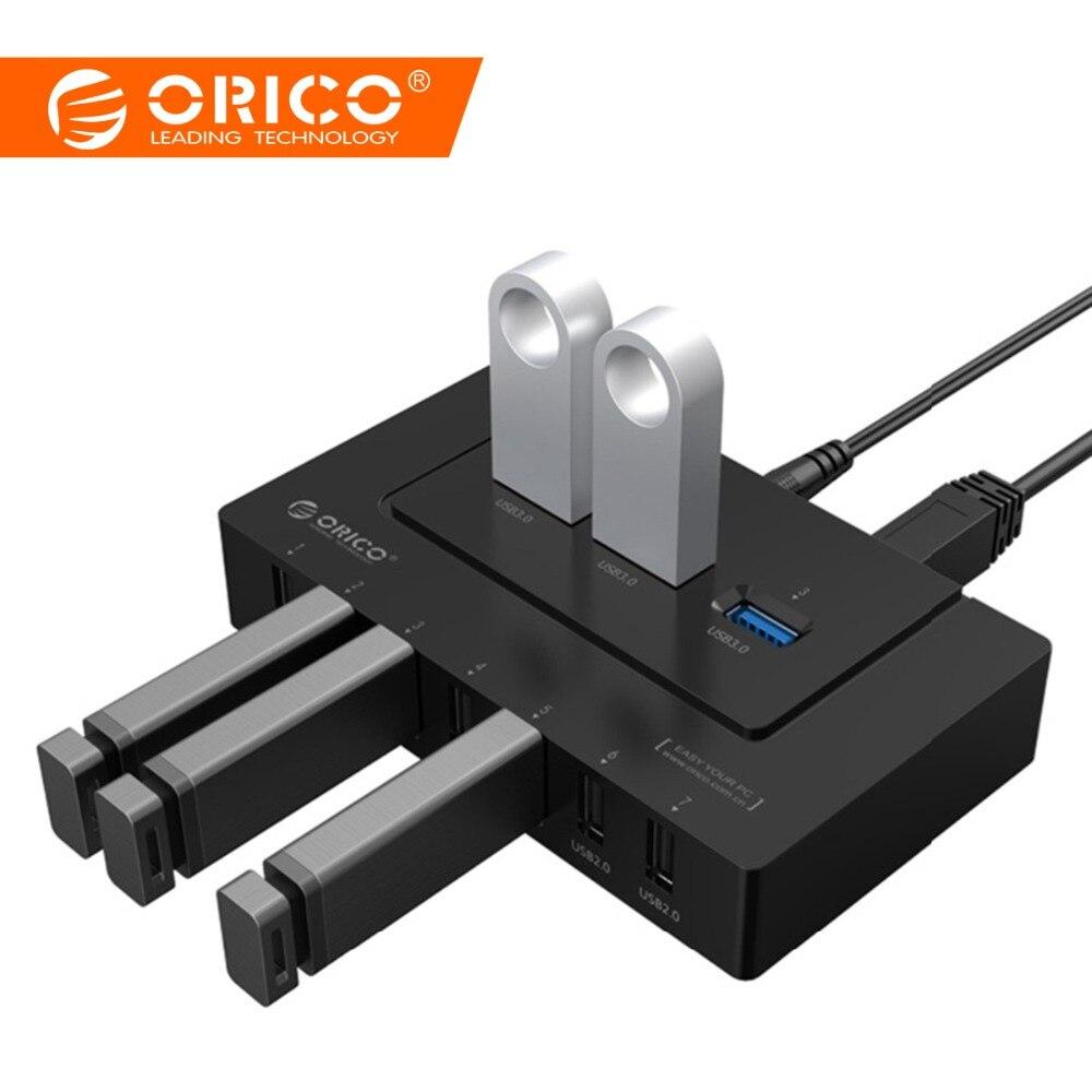 ORICO USB 2.0/3,0 HUB 10 Ports USB HUB 5 Gbps Power Adapter High Speed Splitter Adapter für PC LaptopNotebook -schwarz