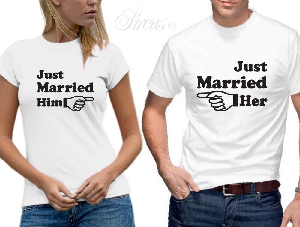 3253028219 Just Married mu jej strzałka koszulka zestaw Funny projektant mężczyzna  kobiet ślubne Tshirt dopasowanie pary trójniki