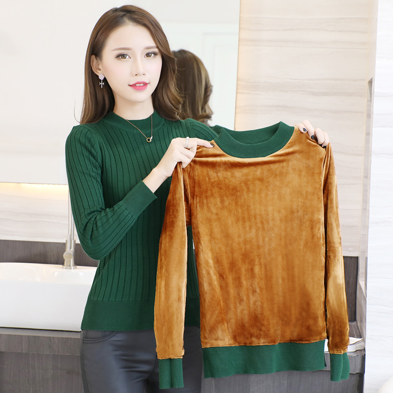 2018 Winter plus Thick Velvet knit sweater Bottoming shirt Velvet lining warm Pullover Sweater female Fashion Thick wool sweater