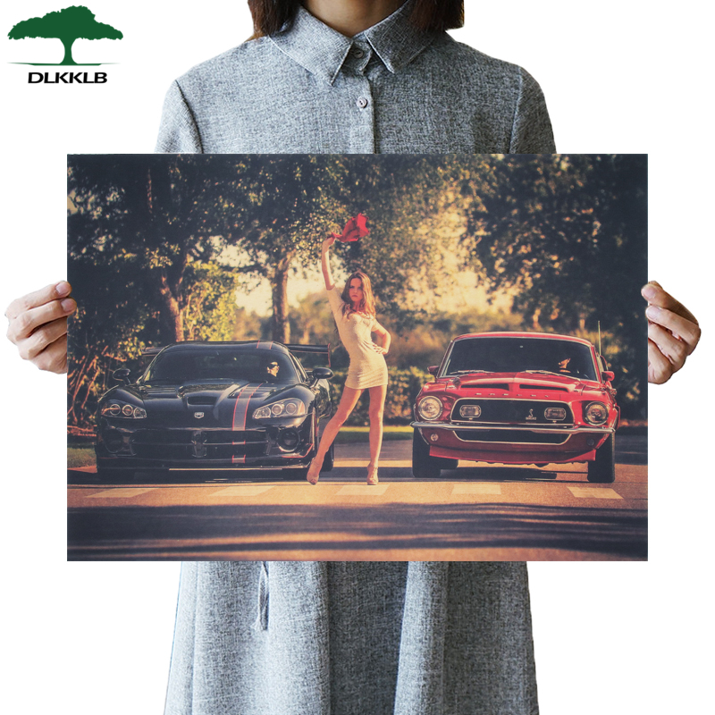 DLKKLB Classic Movie Vintage Poster Beautiful Girl And Racing Vintage Kraft Paper Bar Cafe Home Decor Painting Art Wall Stickers
