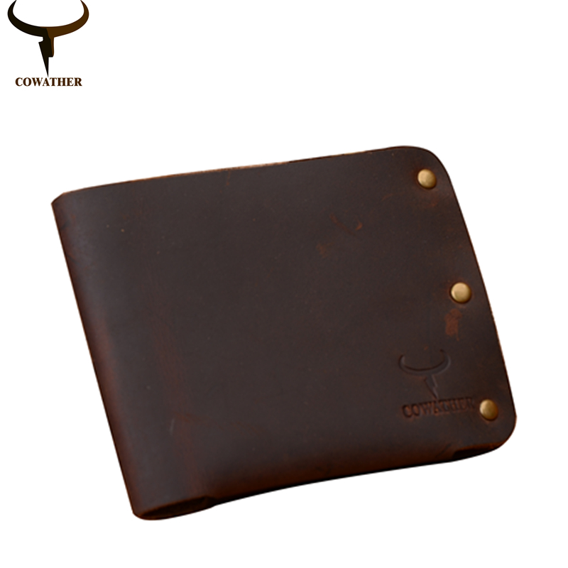 COWATHER newest 100% cow genuine leather men wallets Crazy