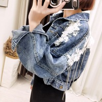 women jean jacket Thin Jean Jacket Summer Cool Denim Coat Female Denim Outwears Back Buttons & Flowers Embroidery Personal