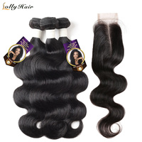 Body Wave Hair Bundles with Closure Remy Brazilian Hair Weave Bundles with Closure 2x4 Lolly 2/3 Human Hair Bundle with Closure