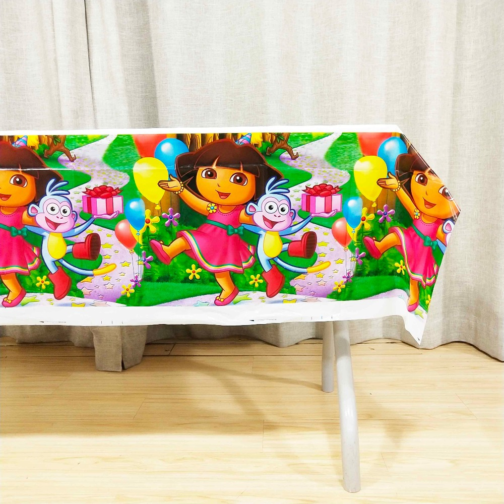1pcs Dora Party Table Cloth Birthday Party Supplies Party Decoration Disposal Kids girls boys Event Party Supplies TableCloth in Disposable Party Tableware from Home Garden