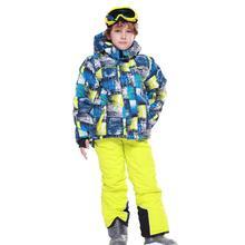 Детский лыжный костюм Детская ветронепроницаемая Водонепроницаемая теплая зимняя одежда для девочек и мальчиков, комбинезон зимняя Лыжная куртка для сноуборда