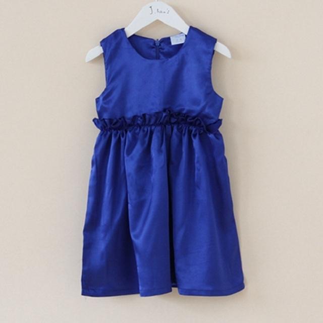 Verano 2016 Baby Girl Moda Vestido de Satén Azul Vestidos de Los Cabritos Para Las Muchachas Vestido Infantil Lindo Muchacha Del Niño Ropa Infantil Ropa