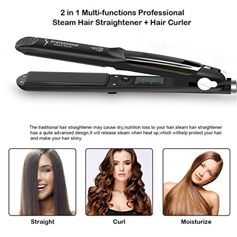 2018 Steam Function Straightening Irons Flat Iron Tourmaline Ceramic Vapor Professional Hair Straightener
