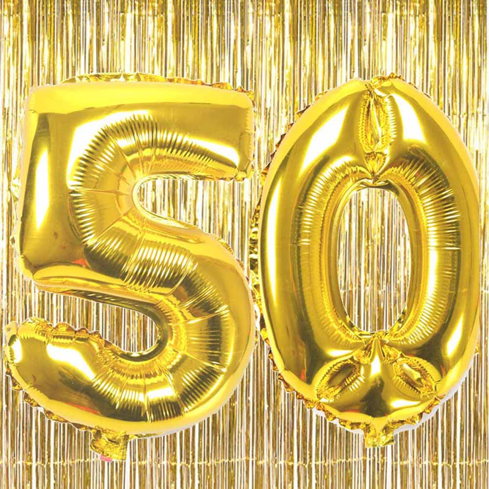 32 inch number Balloons 10 20 30 40 50 60 70 80 years old adult birthday Anniversary decoration with Metallic Foil Shiny Curtain