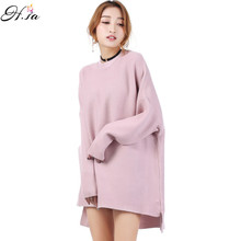 H.SA Women Sweater and Pullovers New Long Sleeve Plus Size Loose Style Batwing Oversized Sweater Knitted Cropped Christmas Pull