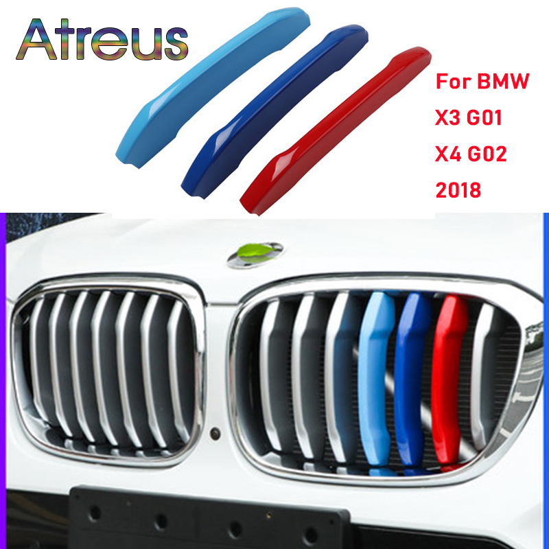 Atreus 3pcs For New <font><b>BMW</b></font> <font><b>X3</b></font> G01 X4 G02 <font><b>2018</b></font> 2019 <font><b>Accessories</b></font> Motorsport Power M Performance Front Grille Trim Strips Cover image