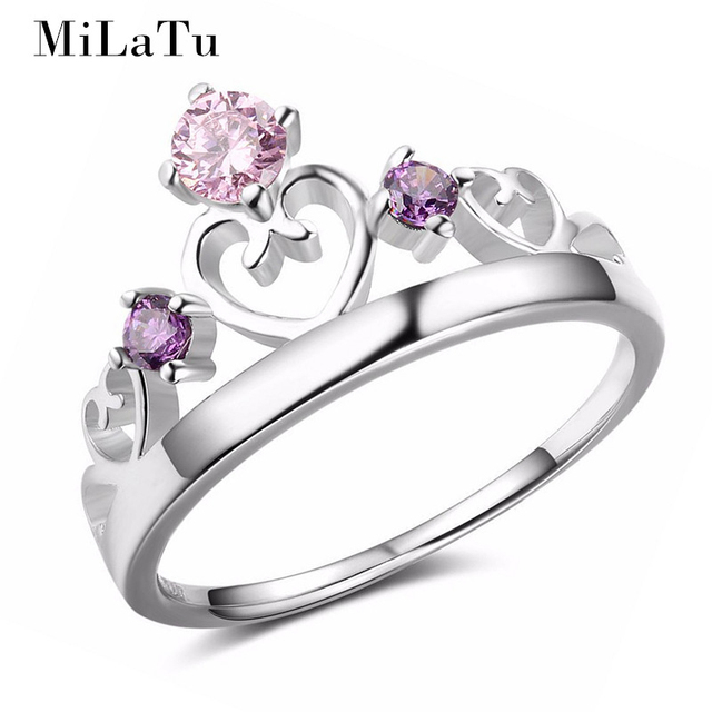 milatu 925 sterling silver heart crown engagement ring for women pink purple stone wedding bands - Pink Wedding Ring