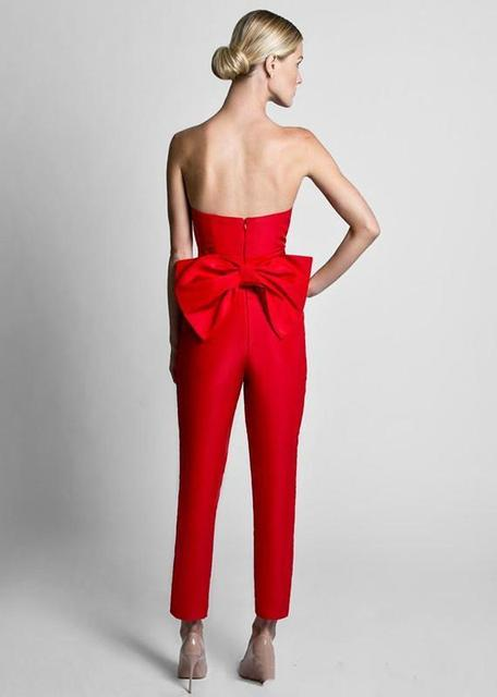 Attractive Red Jumpsuits Celebrity Prom Dresses With Detachable Skirt Sweetheart Strapless Satin Guest Dress Evening Party Gowns 4