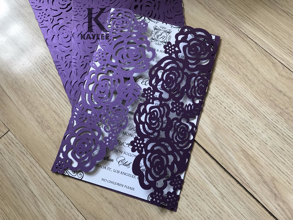 Purple Rose Wedding Invitations: Elegant Rose Design 50pcs Purple Laser Cut Wedding