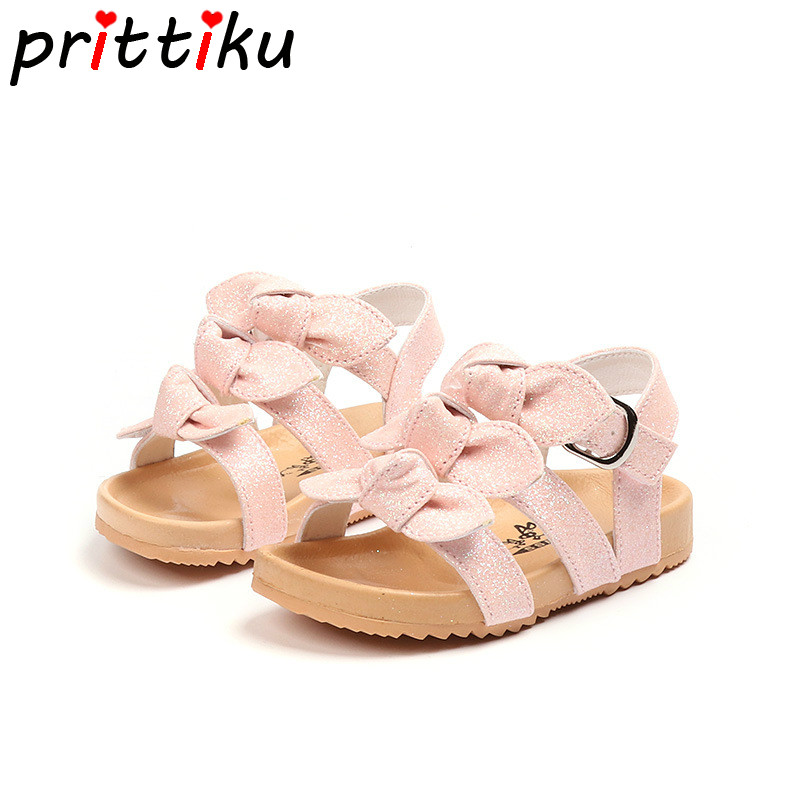 Summer 2018 Baby Toddler Girl Glitter PU Leather Sandals Little Kid Cute Bowknot Fashion Brand Flats Children Pink White Shoes