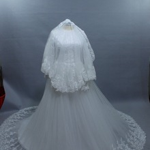 kejiadian Muslim Wedding Dresses Long Sleeve Ball Gown