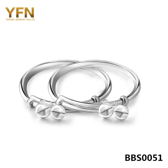 100% Real Pure S990 Sterling Silver Bracelet Bangle with Bells Fashion Jewelry New Born Baby Gifts Expandable Bracelet BBS0051