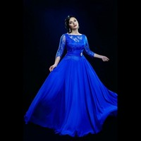 Plus Size Royal Blue Prom Gowns Special Occasion New Elegant Long Formal Party Gowns Chiffon Lace