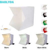 Baolyda 40*40 cm boîte à lumière Photo Lightbox photographie luminosité réglable Mini boîte de Studio Photo avec 4 arrière-plans de Studio Photo
