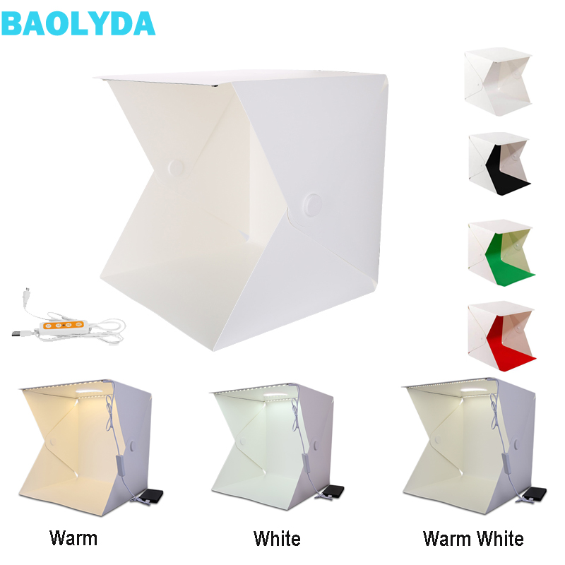 Baolyda 40*40cm caja iluminada para fotografía Lightbox fotografía brillo ajustable Mini Photo Studio Box con 4 fondos de estudio fotográfico Collar con foto personalizada con imagen grabada personalizada y colgante de joyería para mujer