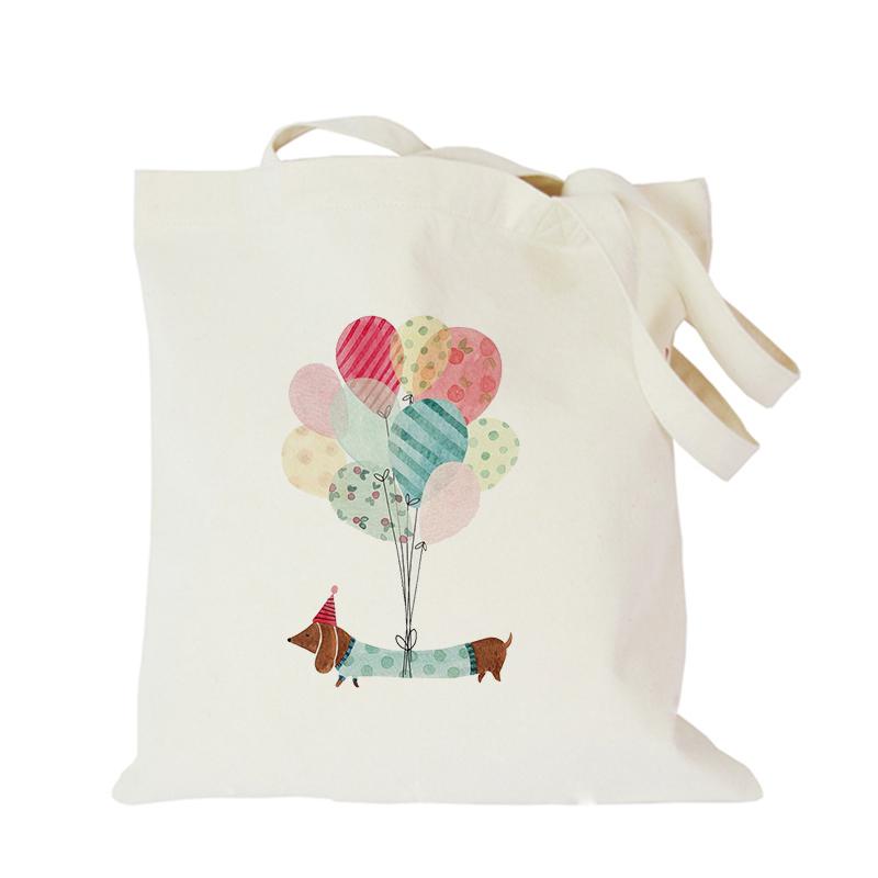 2019 Pet dog series canvas bag customized eco custom tote bag custom made shopping bags with logo Dachshund Shepherd Dog Poodle (6)
