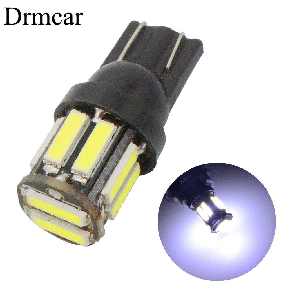 W5W 10 Led 7020 SMD Car T10 LED 194 168 Wedge Replacement Reverse Instrument Panel Lamp White Blue Bulbs For Clearance Lights