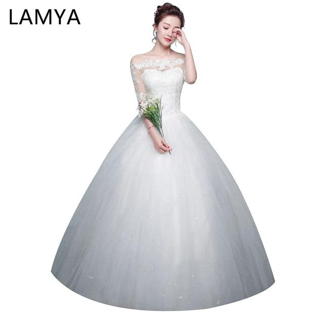 LAMYA New Lace Half Sleeve Boat Neck Elegant Bridal Gown Plus size Abiye  Vintage Wedding Dress Ball Gown Vestido de noiva 972324da081e