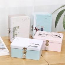 Candy Cartoon Metal Storage Case Jewelry Stationery Simple Peninsula Iron Box with Lock Retro Suitcase Desktop Gifts