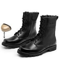 Chaussures de sécurité à bout en acier bottes en cuir militaires américaines pour hommes bottes tactiques d'infanterie de Combat Bot
