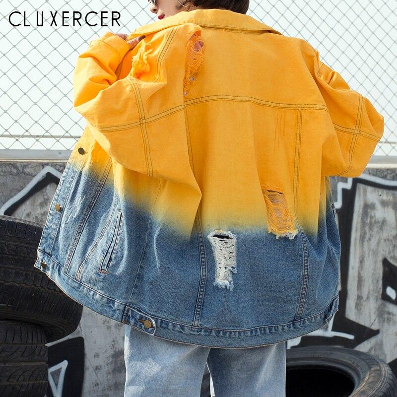 Gradient สีกางเกงยีนส์เสื้อผู้หญิงหลวม Casual Ripped Denim แจ็คเก็ตหญิง Outwear ฤดูใบไม้ผลิ Denim เสื้อผู้หญิง-ใน แจ็กเก็ตแบบเบสิก จาก เสื้อผ้าสตรี บน AliExpress - 11.11_สิบเอ็ด สิบเอ็ดวันคนโสด 1