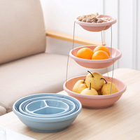 Patchable Three Layer Fruit Tray Snacks Containers Candy Dry Fruit Melon Seeds Storage Trays Box For