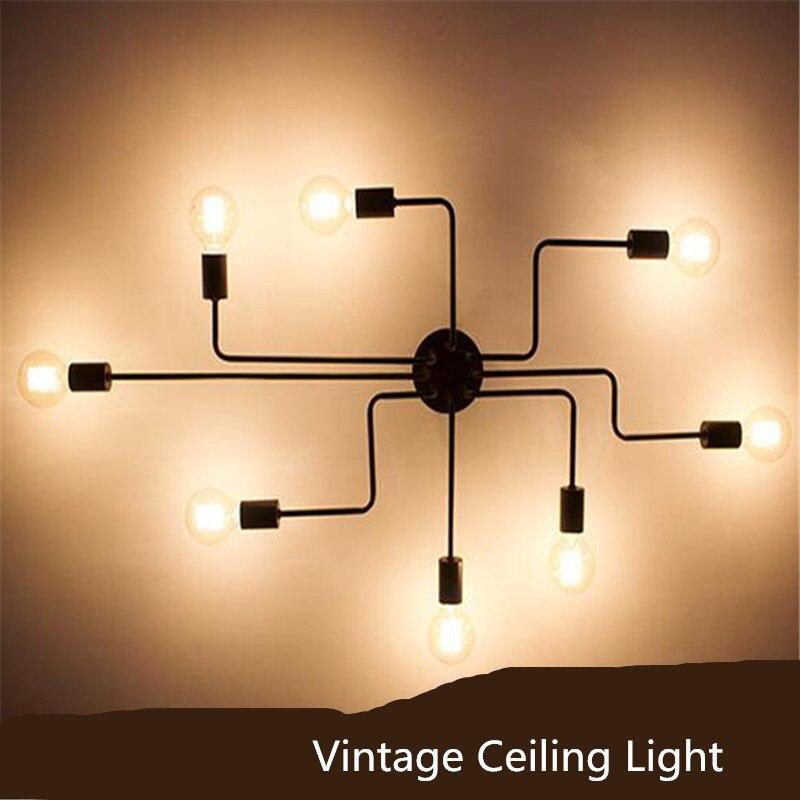 Retro E27 Track Light Spotlights Minimalist Led Ceiling: Vintage Industry Black Iron Led E27 Ceiling Light For