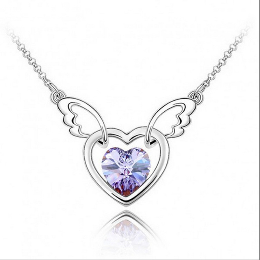 2016 new wholesale free shipping silver plated nickel free crystal 2016 new wholesale free shipping silver plated nickel free crystal heart of angel wings pendant necklace romantic for women in pendant necklaces from aloadofball Gallery
