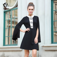 PLUS size 2018 Autumn dress women dresses new large size womens thin dress embroidered beaded tibet meat