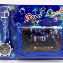 Super Hero Avengers kids Sets watch and wallet purse wrist quartz Christmas Chil