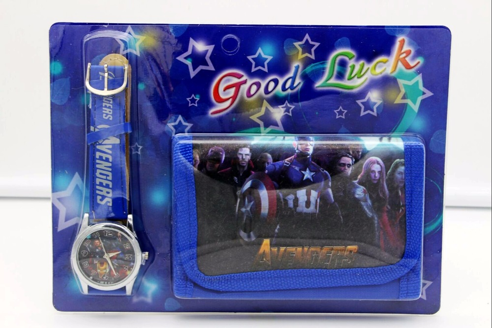 Super Hero Avengers Kids Sets Watch And Wallet Purse Wrist Quartz Christmas Children Gift Cartoon Watches Students Watches