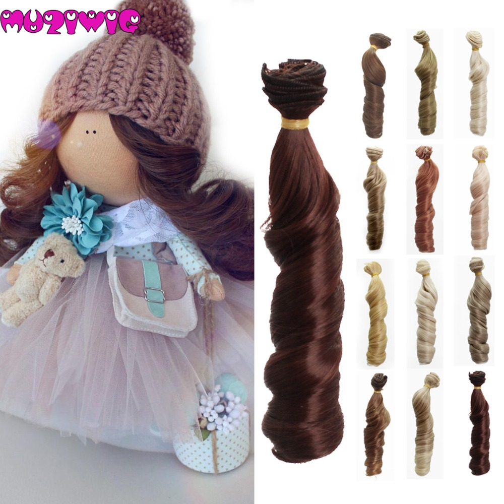Muzi Wigs 1pieces Extension Doll Wigs 15*100cm Natural Color Curly Doll Hair For BJD SD Russian Handmade Clothing Doll Wigs