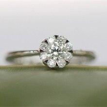 Фарфоровый элемент белого золота 14 K 0.15CT имитированный алмаз кольцо для женщин Свадебные украшения цветок лепесток обручальное кольцо G14K гравированное