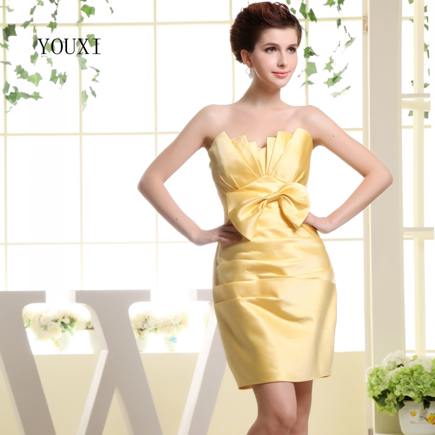 Sexy Strapless Yellow Prom Dresses 2017 Hot Chiffon Short Cocktail Party Dress For Women PD107