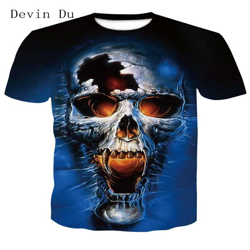 19a8ec1ff ... 2018 new skull 3D T Shirt Summer Mens Fashion Tops Male Print harajuku  wolf Men Women ...