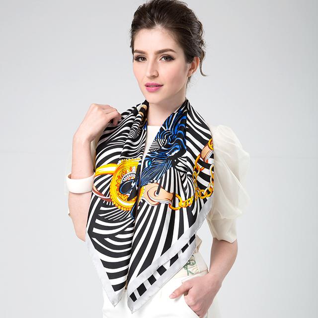 New2014 mulheres de 100% lenço de seda de design faixa floral preto feminino grande xale