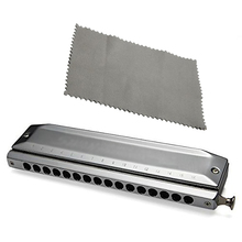 Wholesale 3PCS  Chromatic Harmonica Silver tone 16 hole 64 Mouth Music Instruments