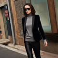 HOT-Selling 2016 New women's brand fashion navy blue gold velvet ol small suit jacket female one button blazer outerwear / S-XL