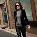 Venda quente 2016 nova marca de moda de veludo ol pequeno paletó feminino um botão blazer outerwear / S-XL