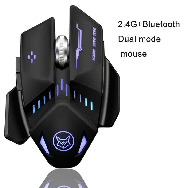 2018 New Q11 Bluetooth +2.4G Dual Mode 1600dpi  Wireless Rechargeable  Game Mouse  With Cable For LOL CF Game Mouse  Office