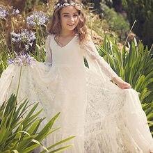 956bc186d9 U-SWEAR 2018 New Arrival biały miękkie słodkie dziecko kwiat dziewczyna sukienki  koronki siatki suknie wieczorowe na wesele suki.
