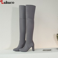 Lukuco Pointed Toe High Heel Slim boots Slip on Over The Knee Women Big Size 43 44 45 46 47 48 Fashion Winter Boots Shoes Woman