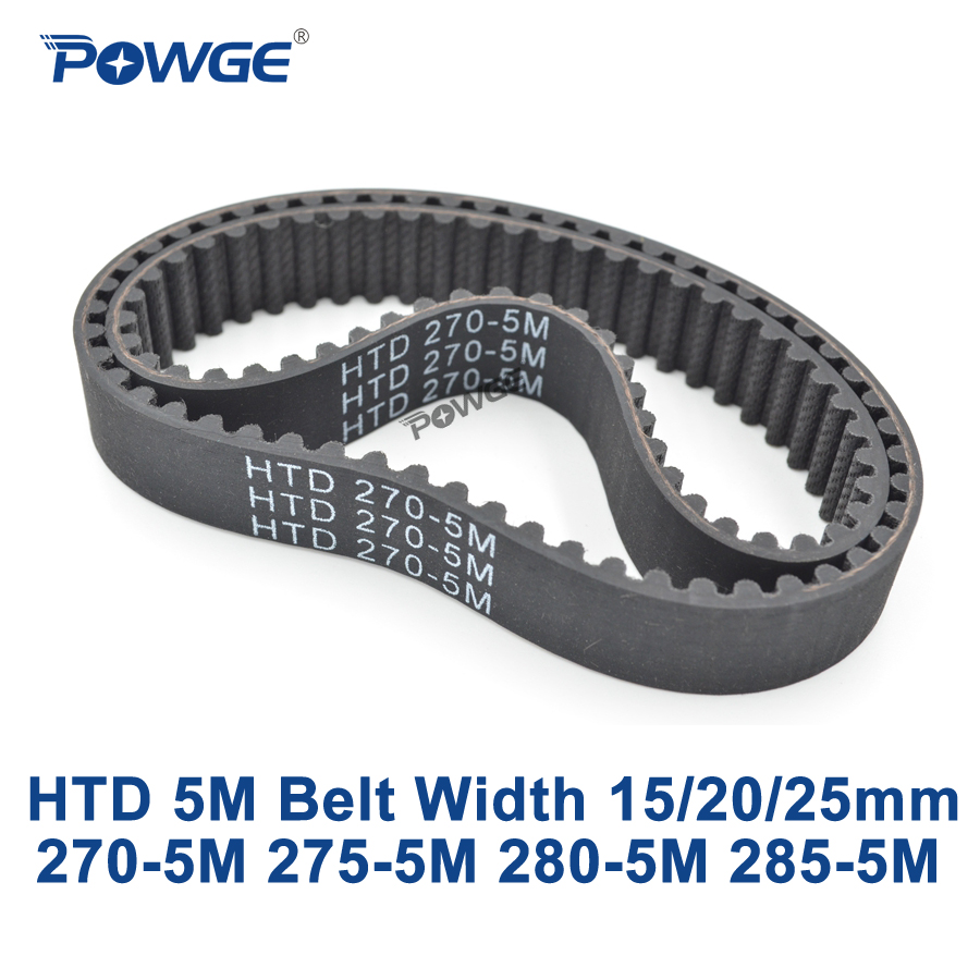 POWGE HTD 5M Timing belt C=270/275/280/285 width 15/20/25mm Teeth 54 55 56 57 <font><b>HTD5M</b></font> synchronous Belt 270-5M 275-5M 280-5M 285-5M image