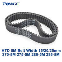 POWGE HTD 5M Timing belt C=270/275/280/285 width 15/20/25mm Teeth 54 55 56 57 HTD5M synchronous Belt 270-5M 275-5M 280-5M 285-5M